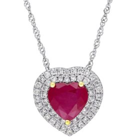 Allura 1.43 CT. Ruby and 0.25 CT. Diamond Double Halo Heart Pendant in 14K White Gold