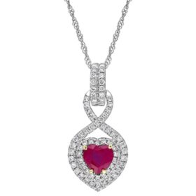 0.68 CT. Ruby and 0.31 CT. Diamond Double Halo Infinity Heart Pendant in 14K White Gold