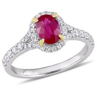 Allura Oval-Cut Ruby and 0.45 CT. Diamond Halo Ring in 14K White Gold