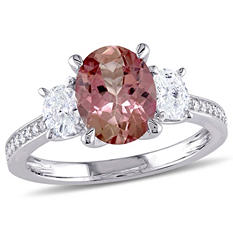 1.95 CT. Oval-Cut Pink Tourmaline and 0.6 CT. Diamond Three Stone Ring in 14K White Gold