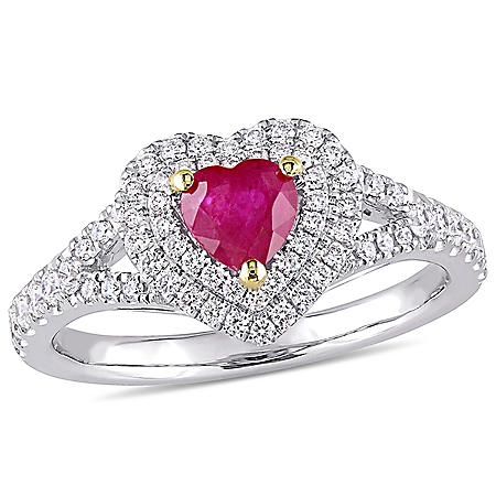 0.56 CT. Ruby and 0.44 CT. Diamond Double Halo Heart Ring in 14K White Gold