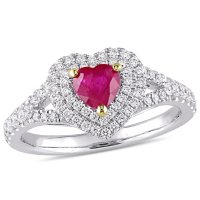 Ruby and 0.36 CT. Diamond Double Halo Heart Ring in 14K White Gold