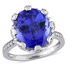 8.45 CT. Oval-Cut Tanzanite and 0.49 CT. Diamond Cocktail Ring in 14K White Gold