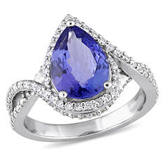 2.57 CT. Pear-Cut Tanzanite and 0.63 CT. Diamond Bypass Halo Ring in 14K White Gold