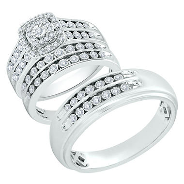 cushion shape frame design diamond trio wedding ring set in 14k - Trio Wedding Ring Sets