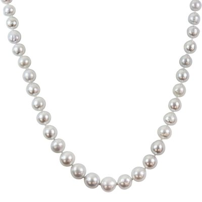 9-11mm White South Sea Pearl Strand Necklace with 14K Yellow Gold Clasp