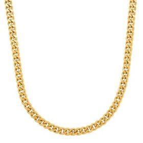 "24"" 180 Flat Curb Link Chain in 14K Yellow Gold"