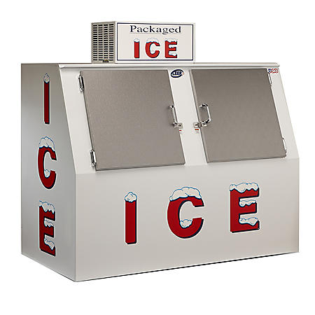 Leer Outdoor Model 60 Slant Ice Merchandiser with Double Solid Doors- w. Auto Defrost (60 cu.ft.)