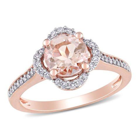 1.17 CT. Morganite and Diamond Accent Quatrefoil Halo Ring in 14K Rose Gold
