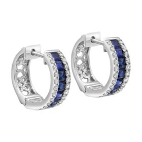 a6283ebe861e66 S Collection Blue Sapphire and Diamond Huggie Hoop Earrings in 14K White  Gold