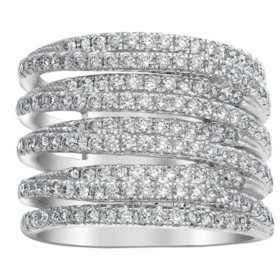 S Collection 1.5 CT. T.W. Diamond Multi-Row Ring in 14K White Gold