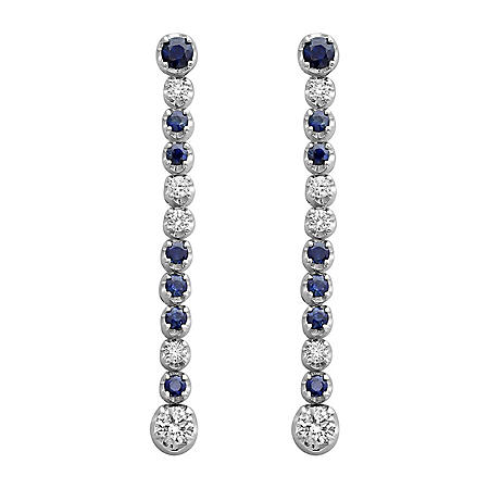 S Collection Blue Sapphire and Diamond Sleek Drop Earrings in 14K White Gold