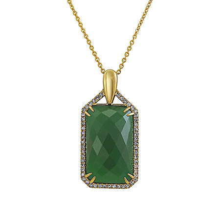 S Collection Green Chalcedony and Diamond Pendant in 14K Yellow Gold