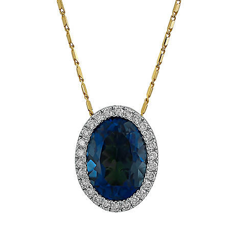 S Collection London Blue Topaz and Diamond Oval Pendant in 14K Yellow Gold