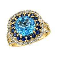 S Collection Swiss Blue Topaz, Blue Sapphire and Diamond Ring in 14K Yellow Gold