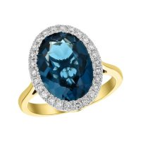 S Collection London Blue Topaz and Diamond Oval Ring in 14K Yellow Gold
