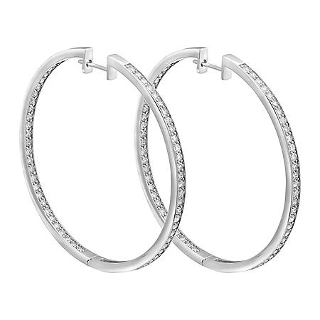S Collection 2.50 CT. T.W. Diamond Hoop Earrings in 14K White Gold