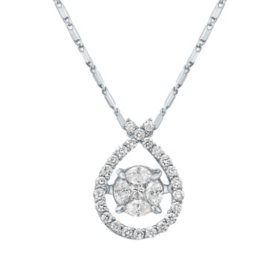 S Collection 0.50 CT. T. W. Diamond Pear Halo Pendant in 14K White Gold