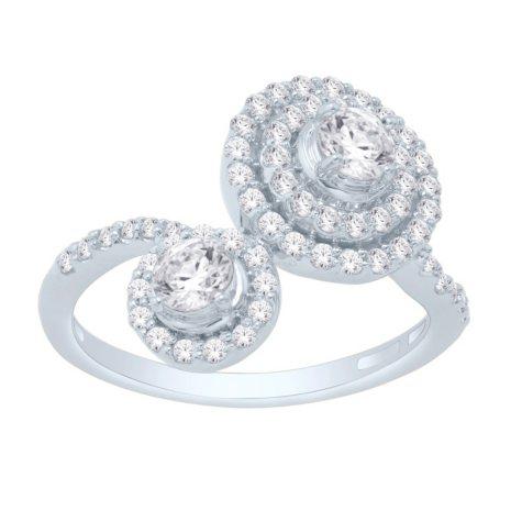 1 CT. T.W. Double Swirl Diamond Ring in 14K Gold (I, I1)