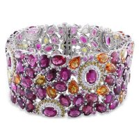 """Allura Multi Color Tourmaline and Sapphire with 0.95 CT. Diamond Mosaic Bracelet in 14K White Gold, 7.25"""""""
