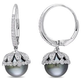 Allura 9-9.5 mm Black Round Tahitian Pearl and 0.51 CT. Diamond Dangle Earrings in 14K White Gold