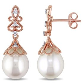 9-9.5 mm White Rice Freshwater Cultured Pearl with Diamond-Accent Dangle Earrings in 14K Rose Gold