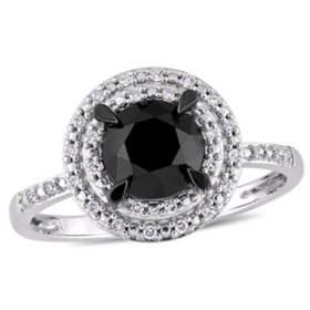 1.59 CT. Black and White Diamond Double Halo Engagement Ring in 14K White Gold