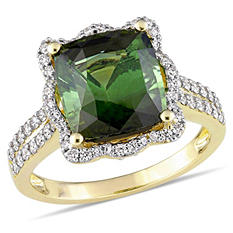 Allura 4.5 CT. Cushion-Cut Green Tourmaline and 0.63 CT. Diamond Halo Vintage Ring in 14K Yellow Gold