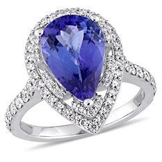 Allura 3.13 CT Pear-Cut Tanzanite and 0.75 CT Diamond Halo Ring in 14k White Gold