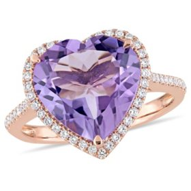 5.35 CT Amethyst and 0.28 CT Diamond Halo Heart Cocktail Ring in 14k Rose Gold