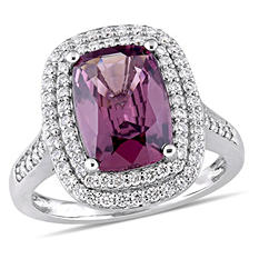 3.90 CT Cushion-Cut Spinel and 1 CT Diamond Double Halo Ring in 14k White Gold