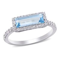 Baguette-Cut Blue Topaz and White Sapphire Halo Ring in Sterling Silver