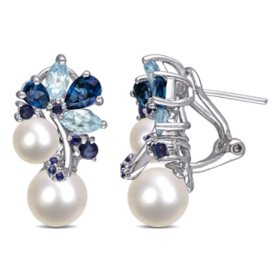 6-8.5 mm White Round Freshwater Cultured Pearl with 3.03 CT. Blue Topaz and Sapphire Cluster Earrings in Sterling Silver