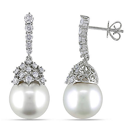 Allura 10.5-11 mm White South Sea Pearl with 0.95 CT. T.W. Diamond Drop Earrings in 14K White Gold