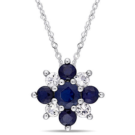 1.8 CT. T.W. Blue and White Sapphire Star Pendant in 14K White Gold