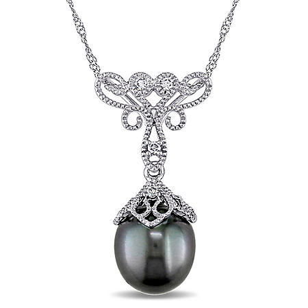 9-9.5 mm Black Drop Tahitian Pearl with Diamond Accent Vintage Pendant in 14K White Gold