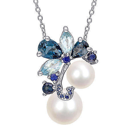 7-9 mm White Round Freshwater Cultured Pearl with 2.72 CT. Blue Topaz and Sapphire Floral Pendant in Sterling Silver