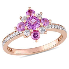 0.85 CT. T.W. Pink and White Sapphire with 0.16 CT. T.W. Diamond Star Ring in 14K Rose Gold