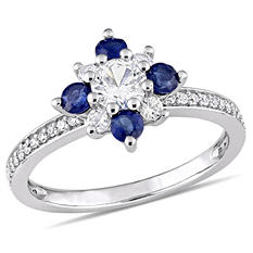 1.17 CT. T.W. White and Blue Sapphire with 0.16 CT. T.W. Diamond Star Ring in 14K White Gold