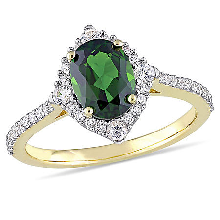 1.7 CT. T.W. Oval-Cut Chrome Diopside and White Sapphire with 0.23 CT. T.W. Diamond Halo Ring in 14K Yellow Gold