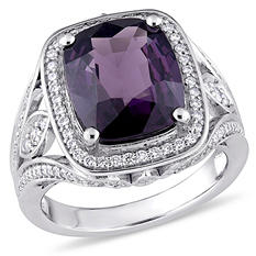 5.78 CT. Cushion-Cut Purple Spinel and 0.56 CT. Diamond Halo Cocktail Ring in 14K White Gold