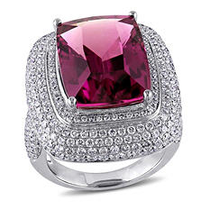 Allura 14.12 CT. T.W. Cushion-Cut Pink Tourmaline and 2.71 CT. T.W. Diamond Halo Cocktail Ring in 14K White Gold