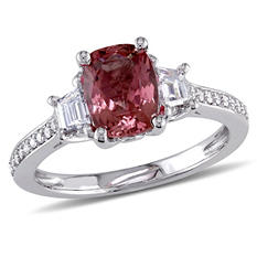 1.57 CT. T.W. Cushion-Cut Pink Tourmaline and 0.77 CT. Diamond Three Stone Engagement Ring in 14K White Gold