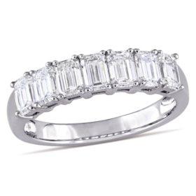 Allura 1.68 CT. T.W. Emerald-Cut Diamond Semi-Eternity Anniversary Ring in 14k White Gold
