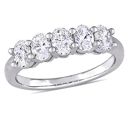 Allura 1.00 CT. T.W. Oval-Cut Diamond Five Stone Ring in 14K White Gold