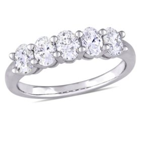 Allura 1.00 CT. T.W. Oval-Cut Diamond Five Stone Ring in 14K White Gold