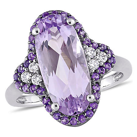 4.26 CT. Oval-Cut Rose de France and Amethyst with 0.13 CT. Diamond Quatrefoil Cocktail Ring in 14K White Gold