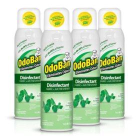 OdoBan Disinfectant Fabric and Air Freshener Spray, Eucalyptus Scent (14 oz., 4 pk.)