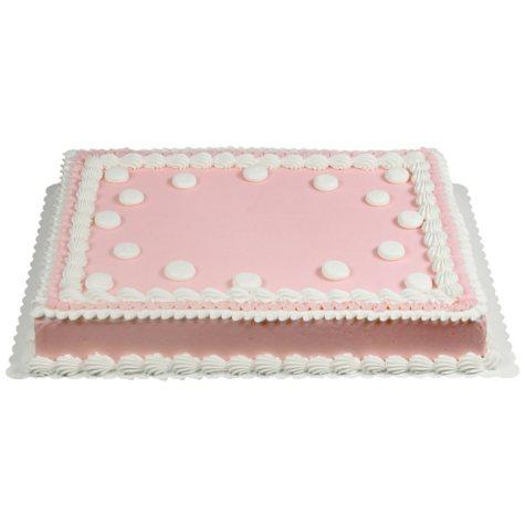 Member's Mark 1/2 Sheet Pink Ruffle and Polka Dot Cake
