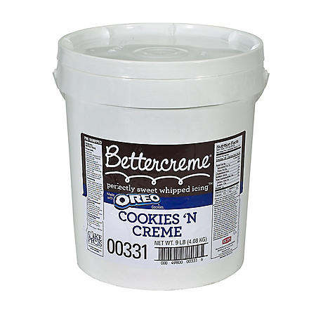 Bettercreme Cookies 'n Creme Pre-Whipped Icing, Bulk Wholesale Case (9 lbs.)